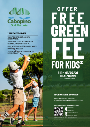 Come play golf with your children, the junior green fee is free!